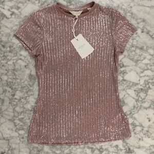 NWT Ted Baker Catrino Metallic Tee Pink Silver